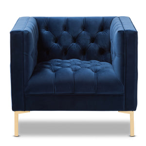 Baxton Studio Zanetta Luxe and Glamour Navy Velvet Upholstered Gold Finished Lounge Chair Baxton Studio-chairs-Minimal And Modern - 2