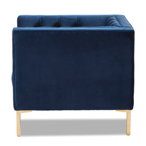 Baxton Studio Zanetta Luxe and Glamour Navy Velvet Upholstered Gold Finished Lounge Chair Baxton Studio-chairs-Minimal And Modern - 3