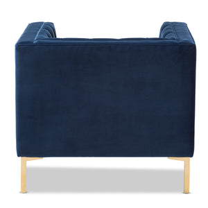 Baxton Studio Zanetta Luxe and Glamour Navy Velvet Upholstered Gold Finished Lounge Chair Baxton Studio-chairs-Minimal And Modern - 4