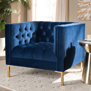 Baxton Studio Zanetta Luxe and Glamour Navy Velvet Upholstered Gold Finished Lounge Chair Baxton Studio-chairs-Minimal And Modern - 6