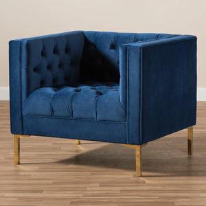 Baxton Studio Zanetta Luxe and Glamour Navy Velvet Upholstered Gold Finished Lounge Chair Baxton Studio-chairs-Minimal And Modern - 7