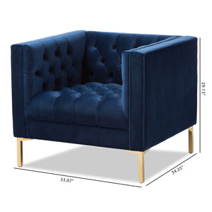 Baxton Studio Zanetta Luxe and Glamour Navy Velvet Upholstered Gold Finished Lounge Chair Baxton Studio-chairs-Minimal And Modern - 8
