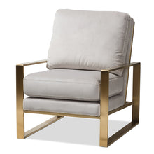 Baxton Studio Mietta Luxe and Glamour Grey Velvet Upholstered Gold Finished Lounge Chair Baxton Studio-chairs-Minimal And Modern - 1