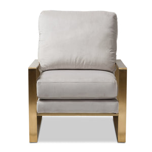 Baxton Studio Mietta Luxe and Glamour Grey Velvet Upholstered Gold Finished Lounge Chair Baxton Studio-chairs-Minimal And Modern - 2