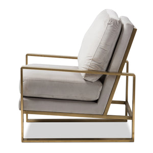 Baxton Studio Mietta Luxe and Glamour Grey Velvet Upholstered Gold Finished Lounge Chair Baxton Studio-chairs-Minimal And Modern - 3