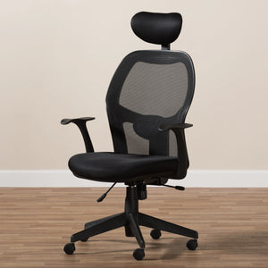 Baxton Studio Sebastian Modern and Contemporary Ergonomic Black Mesh Office Chair Baxton Studio-office chairs-Minimal And Modern - 3