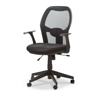 Baxton Studio Kurber Modern and Contemporary Ergonomic Black Mesh Office Chair With Bifma Certification Baxton Studio-office chairs-Minimal And Modern - 1