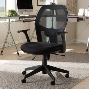 Baxton Studio Kurber Modern and Contemporary Ergonomic Black Mesh Office Chair With Bifma Certification Baxton Studio-office chairs-Minimal And Modern - 9