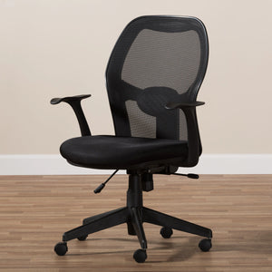Baxton Studio Kurber Modern and Contemporary Ergonomic Black Mesh Office Chair With Bifma Certification Baxton Studio-office chairs-Minimal And Modern - 10