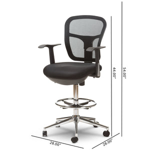 Baxton Studio Landon Modern and Contemporary and Contemporary Black Mesh Adjustable Height Drafting Stool Chair Baxton Studio-office chairs-Minimal And Modern - 2