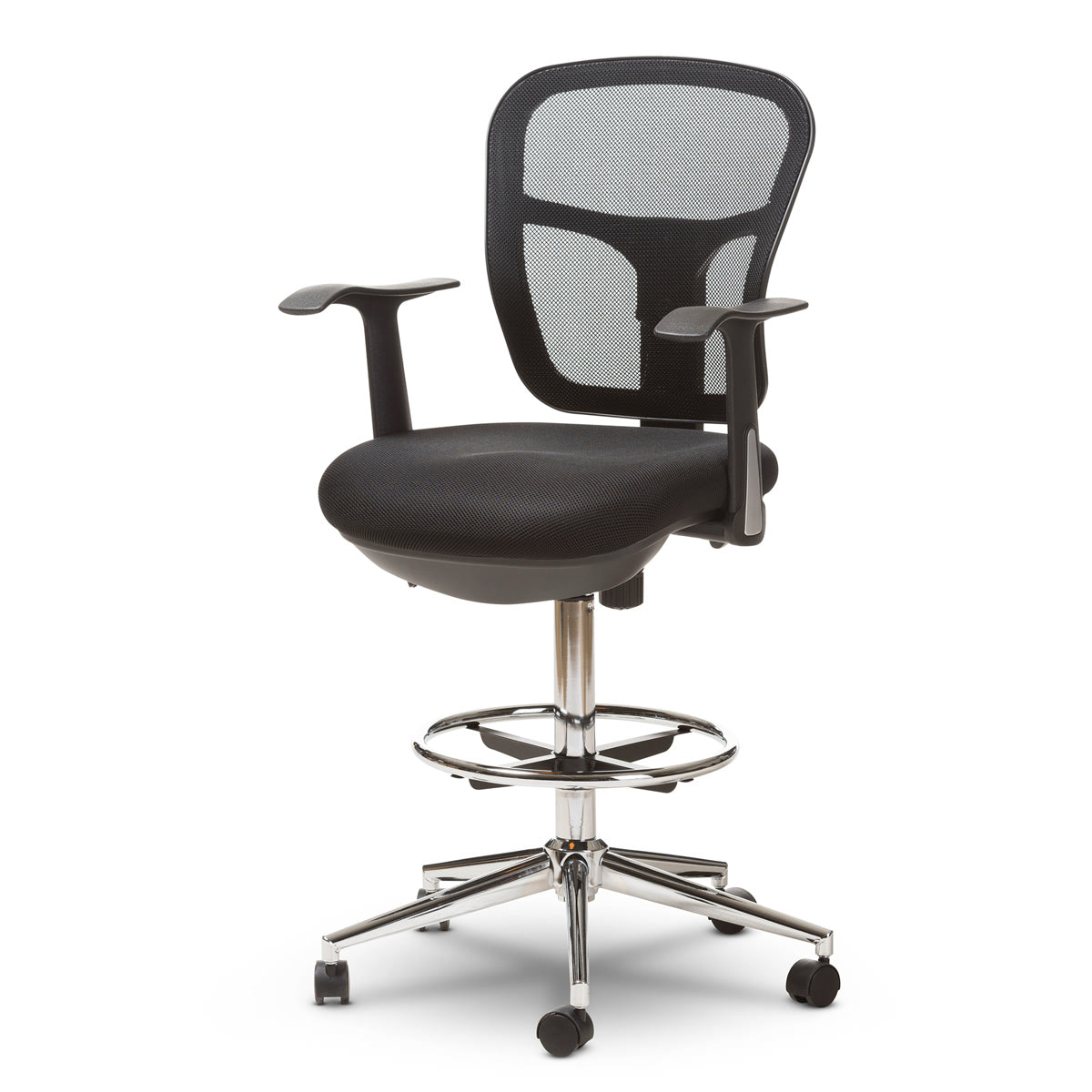 Baxton Studio Landon Modern and Contemporary and Contemporary Black Mesh Adjustable Height Drafting Stool Chair Baxton Studio-office chairs-Minimal And Modern - 1
