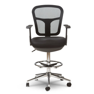 Baxton Studio Landon Modern and Contemporary and Contemporary Black Mesh Adjustable Height Drafting Stool Chair Baxton Studio-office chairs-Minimal And Modern - 3