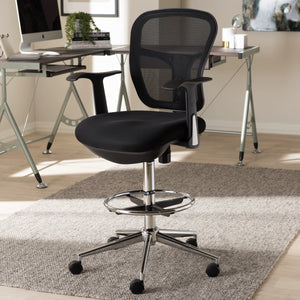 Baxton Studio Landon Modern and Contemporary and Contemporary Black Mesh Adjustable Height Drafting Stool Chair Baxton Studio-office chairs-Minimal And Modern - 9