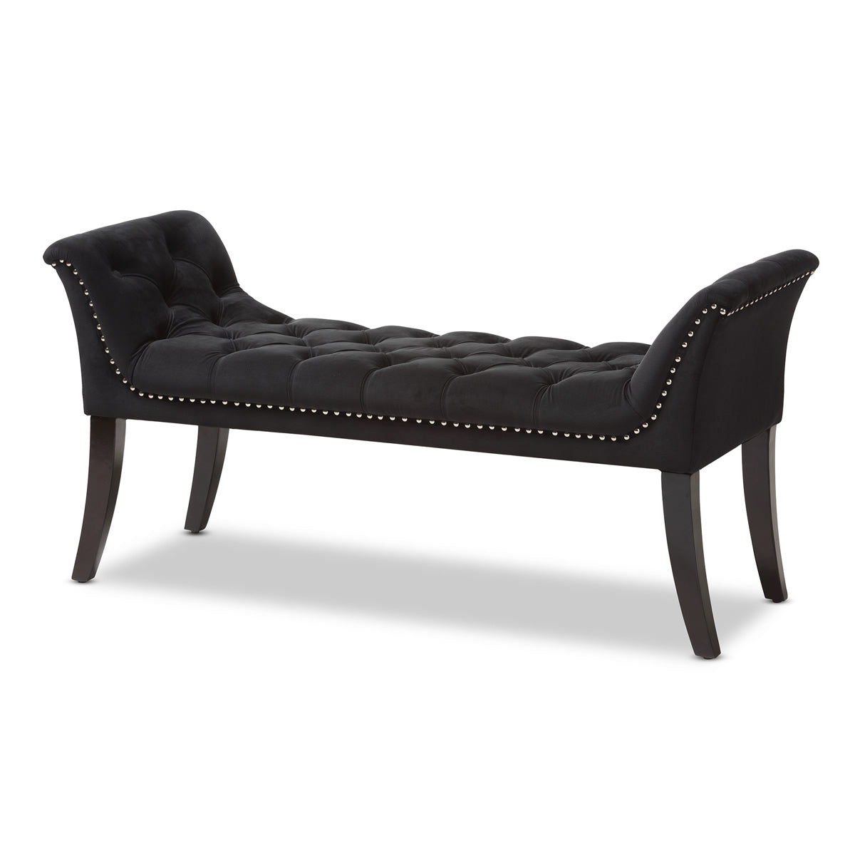 Baxton Studio Chandelle Luxe and Contemporary Black Velvet Upholstered Bench Baxton Studio-0-Minimal And Modern - 1