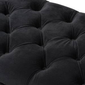 Baxton Studio Chandelle Luxe and Contemporary Black Velvet Upholstered Bench Baxton Studio-0-Minimal And Modern - 4