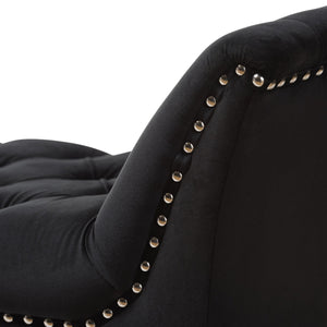 Baxton Studio Chandelle Luxe and Contemporary Black Velvet Upholstered Bench Baxton Studio-0-Minimal And Modern - 5