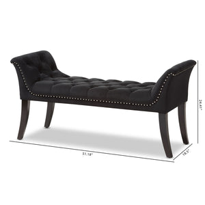 Baxton Studio Chandelle Luxe and Contemporary Black Velvet Upholstered Bench Baxton Studio-0-Minimal And Modern - 9