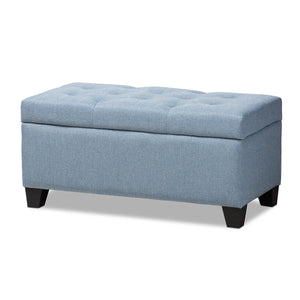 Baxton Studio Michaela Modern and Contemporary Light Blue Fabric Upholstered Storage Ottoman Baxton Studio-ottomans-Minimal And Modern - 1