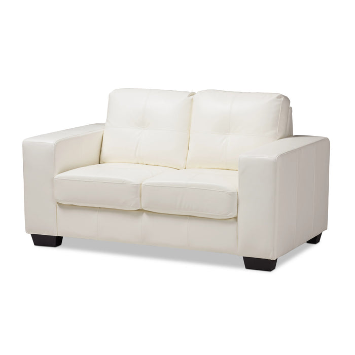 Baxton Studio Adalynn Modern and Contemporary White Faux Leather Upholstered Loveseat Baxton Studio-sofas-Minimal And Modern - 1