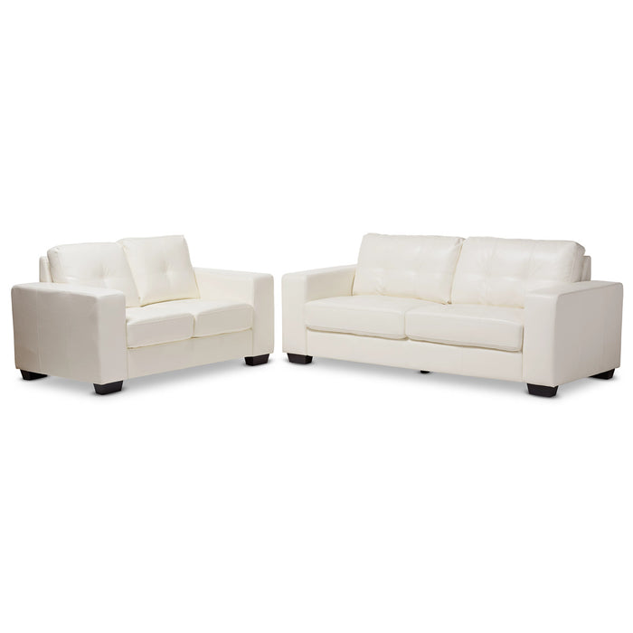 Baxton Studio Adalynn Modern and Contemporary White Faux Leather Upholstered 2-Piece Livingroom Set Baxton Studio-0-Minimal And Modern - 1