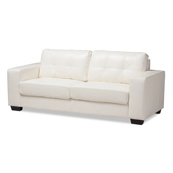Baxton Studio Adalynn Modern and Contemporary White Faux Leather Upholstered Sofa Baxton Studio-sofas-Minimal And Modern - 1