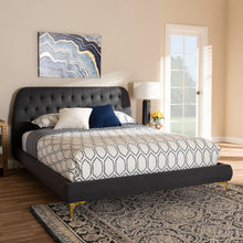 Baxton Studio Ingrid Glam and Luxe Dark Grey Fabric Upholstered Gold Finished Legs Queen Size Platform Bed Baxton Studio-beds-Minimal And Modern - 7