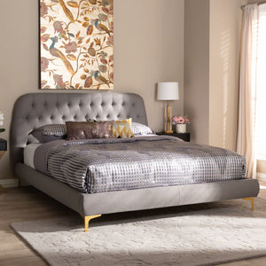 Baxton Studio Ingrid Glam and Luxe Light Grey Fabric Upholstered Gold Finished Legs King Size Platform Bed Baxton Studio-beds-Minimal And Modern - 7