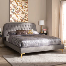 Baxton Studio Ingrid Glam and Luxe Light Grey Fabric Upholstered Gold Finished Legs Queen Size Platform Bed Baxton Studio-beds-Minimal And Modern - 7