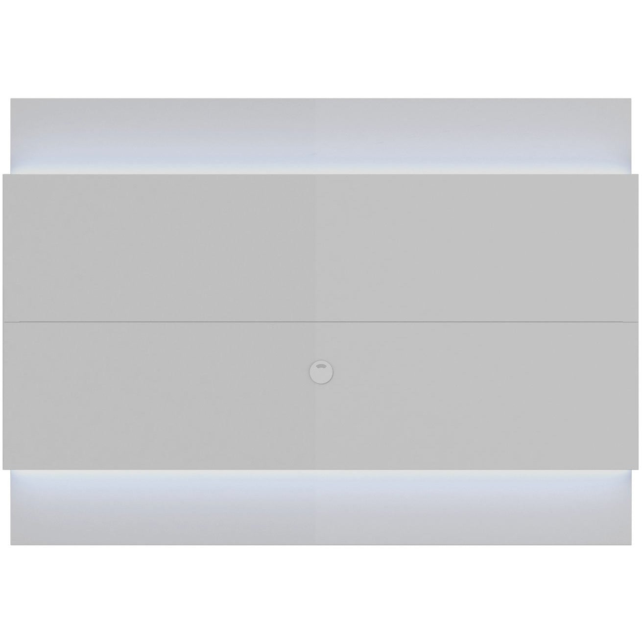 Manhattan Comfort Lincoln Floating Wall TV Panel 1.9 with LED Lights in White Gloss-Minimal & Modern