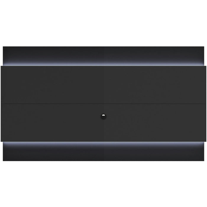 Manhattan Comfort Lincoln Floating Wall TV Panel 2.4 with LED Lights in Black Gloss and Black Matte-Minimal & Modern