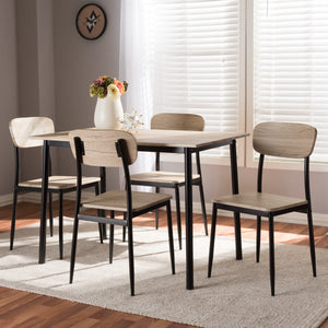 Baxton Studio Honore Mid-Century Modern Light Brown Wood Finished Matte Black Frame 5-Piece Dining Set Baxton Studio-0-Minimal And Modern - 5