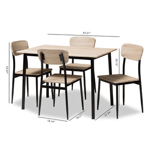 Baxton Studio Honore Mid-Century Modern Light Brown Wood Finished Matte Black Frame 5-Piece Dining Set Baxton Studio-0-Minimal And Modern - 7