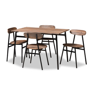 Baxton Studio Darcia Rustic and Industrial Brown Wood Finished Matte Black Frame 5-Piece Dining Set Baxton Studio-0-Minimal And Modern - 1