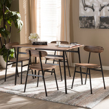 Baxton Studio Darcia Rustic and Industrial Brown Wood Finished Matte Black Frame 5-Piece Dining Set Baxton Studio-0-Minimal And Modern - 5