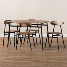 Baxton Studio Darcia Rustic and Industrial Brown Wood Finished Matte Black Frame 5-Piece Dining Set Baxton Studio-0-Minimal And Modern - 6