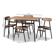 Baxton Studio Darcia Rustic and Industrial Brown Wood Finished Matte Black Frame 5-Piece Dining Set Baxton Studio-0-Minimal And Modern - 7