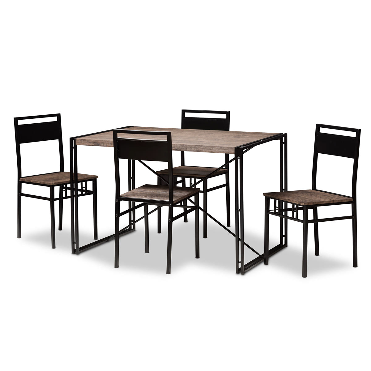 Baxton Studio Mamaine Rustic and Industrial Brown Wood Finished Matte Black Frame 5-Piece Dining Set Baxton Studio-0-Minimal And Modern - 1
