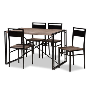 Baxton Studio Mamaine Rustic and Industrial Brown Wood Finished Matte Black Frame 5-Piece Dining Set Baxton Studio-0-Minimal And Modern - 2