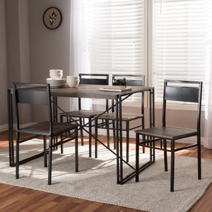 Baxton Studio Mamaine Rustic and Industrial Brown Wood Finished Matte Black Frame 5-Piece Dining Set Baxton Studio-0-Minimal And Modern - 6