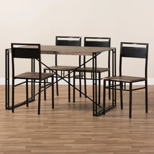 Baxton Studio Mamaine Rustic and Industrial Brown Wood Finished Matte Black Frame 5-Piece Dining Set Baxton Studio-0-Minimal And Modern - 7