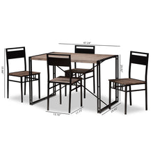 Baxton Studio Mamaine Rustic and Industrial Brown Wood Finished Matte Black Frame 5-Piece Dining Set Baxton Studio-0-Minimal And Modern - 8