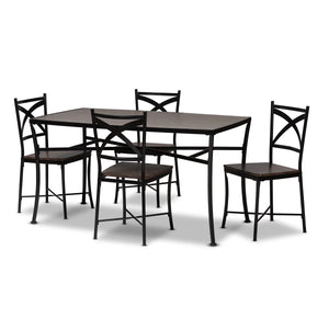 Baxton Studio Josie Rustic and Industrial Brown Wood Finished Matte Black Frame 5-Piece Dining Set Baxton Studio-0-Minimal And Modern - 1