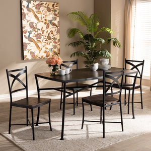 Baxton Studio Josie Rustic and Industrial Brown Wood Finished Matte Black Frame 5-Piece Dining Set Baxton Studio-0-Minimal And Modern - 4