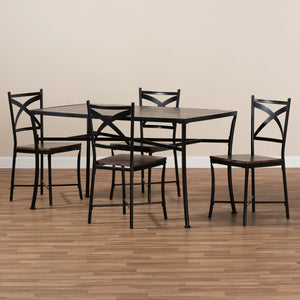 Baxton Studio Josie Rustic and Industrial Brown Wood Finished Matte Black Frame 5-Piece Dining Set Baxton Studio-0-Minimal And Modern - 5