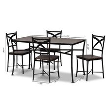 Baxton Studio Josie Rustic and Industrial Brown Wood Finished Matte Black Frame 5-Piece Dining Set Baxton Studio-0-Minimal And Modern - 6