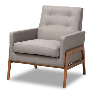 Baxton Studio Perris Mid-Century Modern Grey Fabric Upholstered Walnut Wood Lounge Chair Baxton Studio-chairs-Minimal And Modern - 1