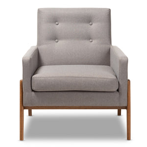 Baxton Studio Perris Mid-Century Modern Grey Fabric Upholstered Walnut Wood Lounge Chair Baxton Studio-chairs-Minimal And Modern - 2