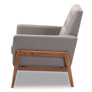 Baxton Studio Perris Mid-Century Modern Grey Fabric Upholstered Walnut Wood Lounge Chair Baxton Studio-chairs-Minimal And Modern - 3