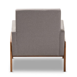 Baxton Studio Perris Mid-Century Modern Grey Fabric Upholstered Walnut Wood Lounge Chair Baxton Studio-chairs-Minimal And Modern - 4