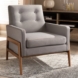 Baxton Studio Perris Mid-Century Modern Grey Fabric Upholstered Walnut Wood Lounge Chair Baxton Studio-chairs-Minimal And Modern - 7